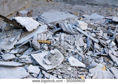 Construction Waste. Broken Concrete Block, Garbage Bricks, Rubble, Broken Slate, Materials From A De
