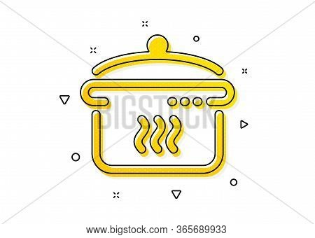 Cooking Sign. Boiling Pan Icon. Food Preparation Symbol. Yellow Circles Pattern. Classic Boiling Pan