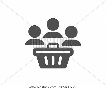 Buyers With Shopping Cart Icon. Customers Group Sign. Supermarket Clients Symbol. Classic Flat Style