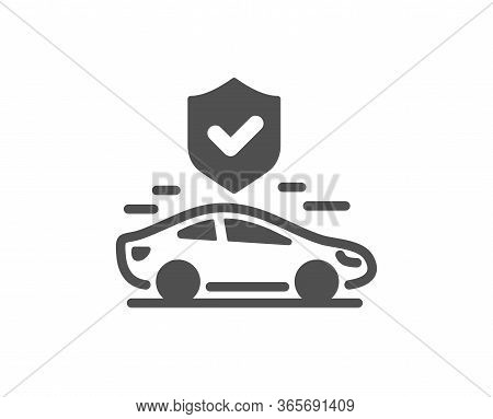 Transport Insurance Icon. Car Risk Coverage Sign. Vehicle Protection Symbol. Classic Flat Style. Qua