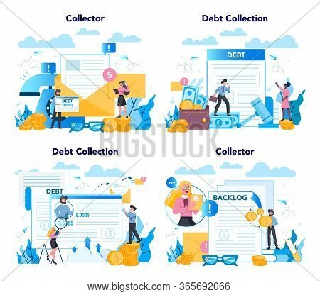 Debt Collector Concept Set. Pursuing Payment Of Debt Owed By Person