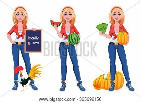 Happy Smiling Farm Girl, Set Of Three Poses. Beautiful Farmer Woman Cartoon Character Standing Near