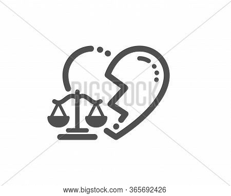 Divorce Lawyer Icon. Justice Scales Sign. Marriage Law Symbol. Classic Flat Style. Quality Design El