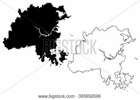 Fuzhou City (people's Republic Of China, Fujian Province) Map Vector Illustration, Scribble Sketch C