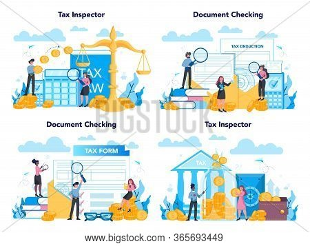 Tax Inspector Concept Set. Idea Of Accounting And Payment. Financial