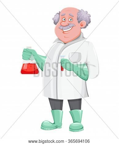 Professor Cartoon Character Holding Test Tube. Usable Also As Scientist, Chemist, Laboratory Assista