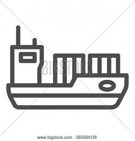 Tanker Line Icon, Transport Symbol, Cargo Ship Vector Sign On White Background, Oil Tanker Ship Icon