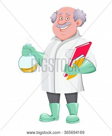 Professor Cartoon Character Holding Laboratory Flask And Documents. Usable Also As Scientist, Chemis