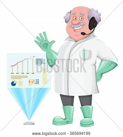 Professor Cartoon Character Standing Near Holographic Projection. Usable Also As Scientist, Chemist,