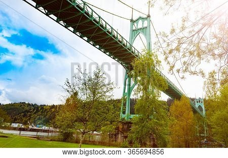 St. Johns Bridge, Highest In Portland View From Park Below, Oregon Usa