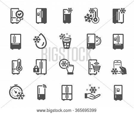 Fridge Icons. Refrigerator, Freezer Storage, Smart Fridge Machine. Water With Ice, Cooler Box, Therm