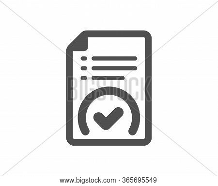 Approved Document Icon. Accepted File Sign. Verification Symbol. Classic Flat Style. Quality Design
