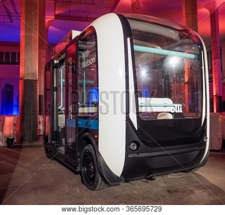 Munich, Germany - February 16, 2017: Ibm Demonstrates Self-driving Bus Olli Equipped With Watson Art