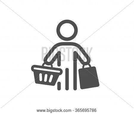 Buyer With Shopping Cart Icon. Customer With Bags Sign. Supermarket Client Symbol. Classic Flat Styl