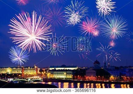 Fireworks Over Saint Petersburg Downtown Rostralnaya Column, Neva River Embarkment, Winter Palace, R