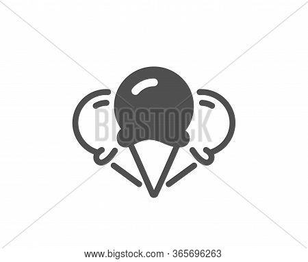 Ice Creams Cone Icon. Vanilla Sundae Waffle Cone Sign. Frozen Summer Dessert Symbol. Classic Flat St