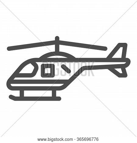 Helicopter Line Icon, Air Transport Symbol, Copter Vector Sign On White Background, Small Helicopter