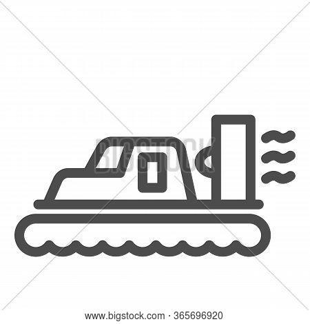 Hovercraft Line Icon, Sea Transport Symbol, Marine Transportation Vector Sign On White Background, H