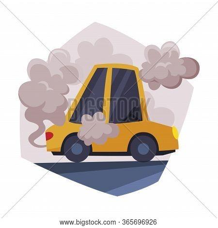 Yellow Car Emitting Dark Smoke, Ecological Problem, Environmental Pollution Vector Illustration