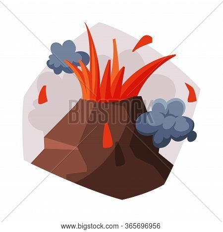 Volcano Eruption, Volcanic Activity With Smoke, Ecological Problem, Air Pollution Vector Illustratio