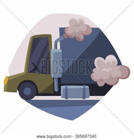 Truck Emitting Dark Smoke, Ecological Problem, Air Pollution Vector Illustration