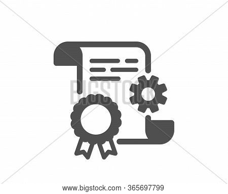 Engineering Doc Icon. Technical Documentation Sign. Construction Certificate Symbol. Classic Flat St