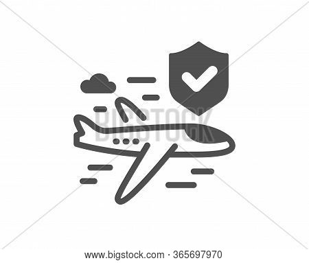 Flight Insurance Hand Icon. Risk Coverage Sign. Travel Protection Symbol. Classic Flat Style. Qualit