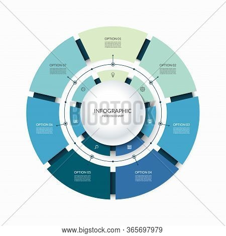 Infographic Circular Chart Divided Into 7 Parts. Step-by Step Cycle Diagram With Seven Options Desig
