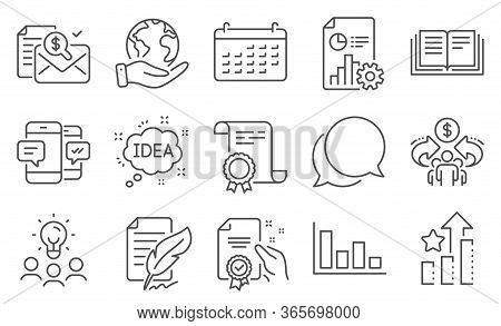 Set Of Education Icons, Such As Chat Message, Certificate. Diploma, Ideas, Save Planet. Ranking Star