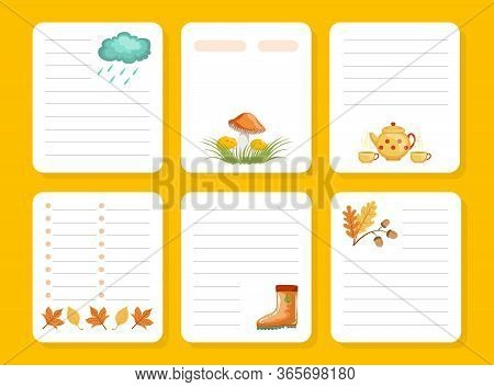 Organizer, Paper For Notes, Printable Pages, Notebook, Diary, Organizer Design Element With Autumn T
