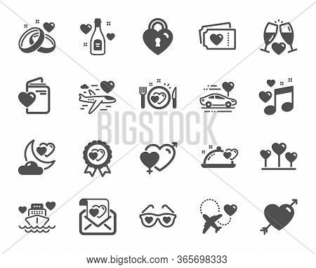 Honeymoon Icons. Wedding Car, Marriage Rings, Love. Bridal Champagne, Valentine Heart Icons. Couple