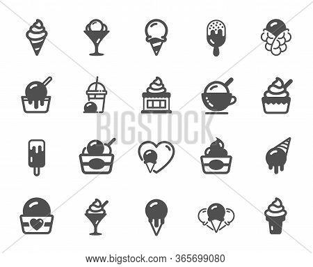 Ice Cream Icons. Vanilla Sundae, Frozen Yogurt, Bubble Waffle. Sweet Dessert Food, Milkshake With Ic