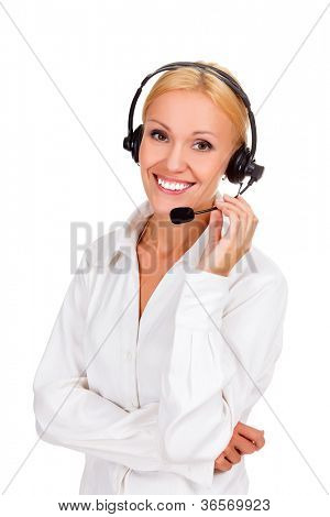 Happy woman with headset and smiling, isolated over a white background