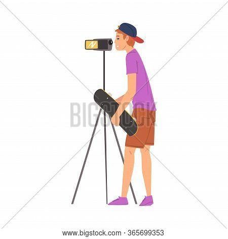 Boy Skateboarder Blogger Streaming Online Recording Video With Camera, Film Scene Or Video Blog Reco