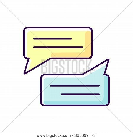 Message Bubbles Yellow And Blue Rgb Color Icon. Empty Chat Cloud. Online Communication. Blank Chat B