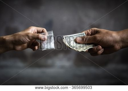 Hand Of Addict Man With Money Buying Dose Of Cocaine Or Heroine, Close Up Of Addict Buying Dose From