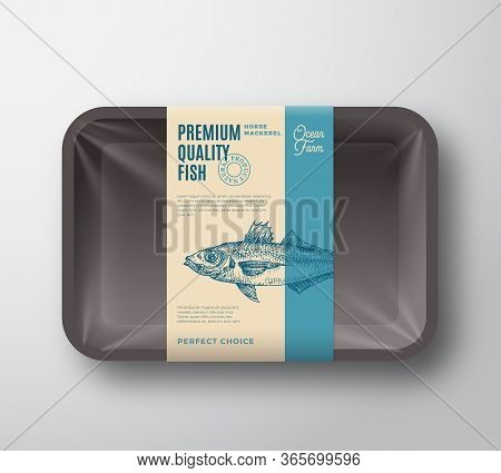 Premium Quality Horse Mackerel. Abstract Vector Plastic Tray With Cellophane Cover Packaging Design