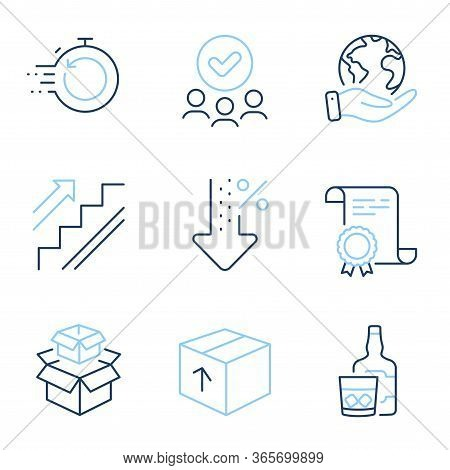 Package, Packing Boxes And Stairs Line Icons Set. Diploma Certificate, Save Planet, Group Of People.
