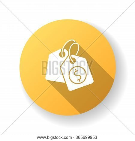 Price Tag Yellow Flat Design Long Shadow Glyph Icon. Label For Purchased Merchandise. E Commerce And