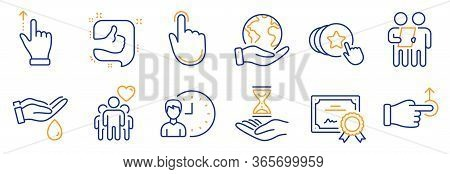 Set Of People Icons, Such As Wash Hands, Time Hourglass. Certificate, Save Planet. Survey, Touchscre