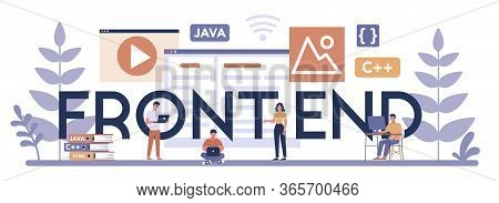 Frontend Typographic Header Concept. Website Interface Design Improvement.