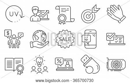 Set Of Business Icons, Such As Smile, Gpu. Diploma, Ideas, Save Planet. Sale, Success Business, Onli