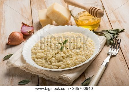 Risotto with sage honey and parmesan cheese