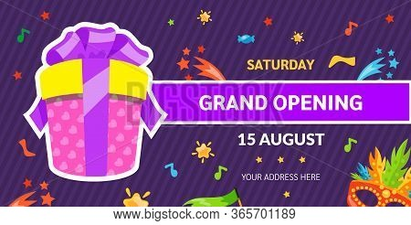 Grand Opening Label Typography Graphic Design. Grand Opening Invitation, Banners Template With Gift.