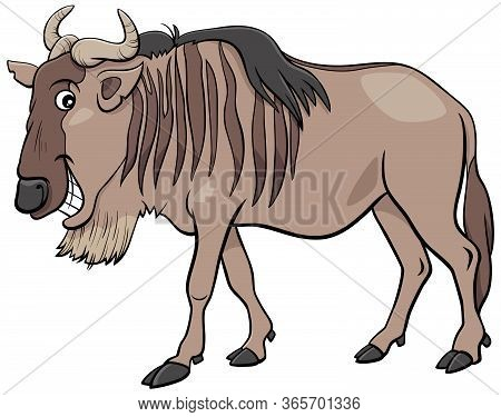 Cartoon Illustration Of Gnu Antelope Or Blue Wildebeest African Wild Animal Character