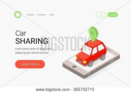 Car Sharing Isometric Concept. Red Car, Smartphone And Map Mark. Modern Auto Rental Car. Trendy Flat