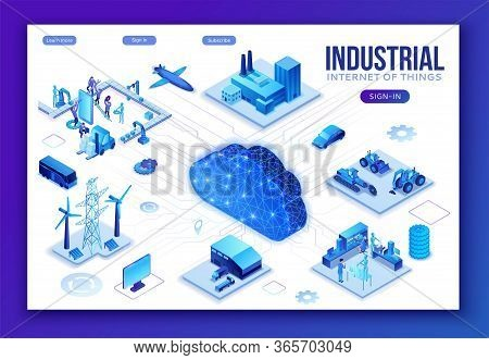 Industrial Internet Of Things Infographic Illustration, Blue Neon Concept With Factory, Electric Pow