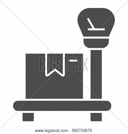 Package On Scales Solid Icon, Delivery And Logistic Symbol, Industrial Cargo Weight Scale Vector Sig
