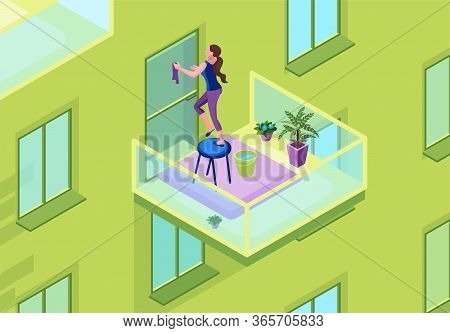 Woman Washing Glass Door On The Balcony With A Duster, Exterior Of Apartment Building, Clean Up Hous