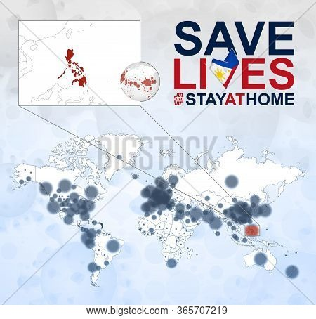 World Map With Cases Of Coronavirus Focus On Philippines, Covid-19 Disease In Philippines. Slogan Sa